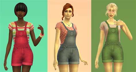 sims 4 overall shorts short overalls for teen elder females sims 4 custom