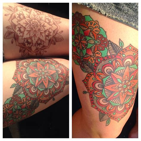 defiance tattoo body piercing kent ohio healed thigh mandalas by larry spano at defiance tattoos