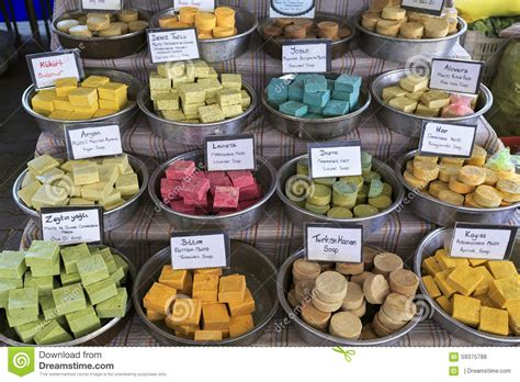 Handcrafted Marketplace - turkish handmade soap city market kemer turkey stock