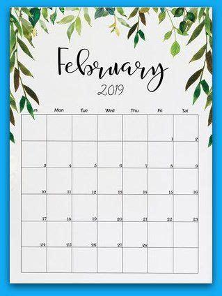 february  floral printable calendar kalendar