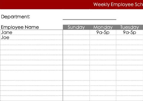 printable employee schedule template download blank work schedule template download free premium
