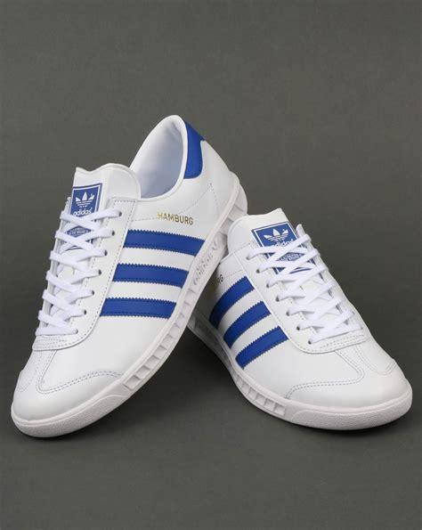 Adidas White Blue adidas hamburg trainers white bold blue originals mens