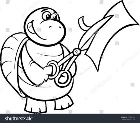 coloring book paper stock black white illustration turtle stock