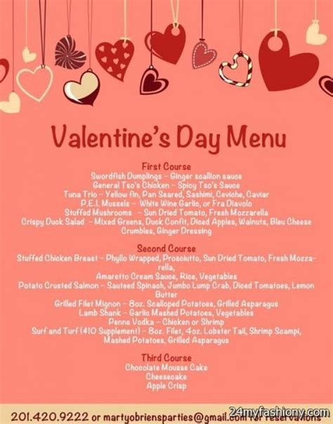 valentines day restaurant menu valentines day menu images 2016 2017 b2b fashion