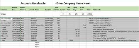 Accounts Receivable Ledger Template Aged Debtors Accounts Receivable Template