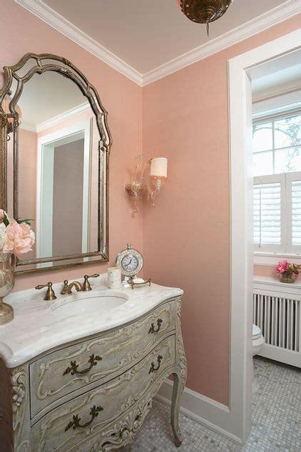 traditional bathroom  mellow coral walls interiors