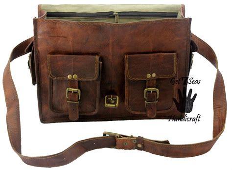 rugged leather briefcase new vintage rugged s genuine leather messenger briefcase laptop satchel bag backpacks