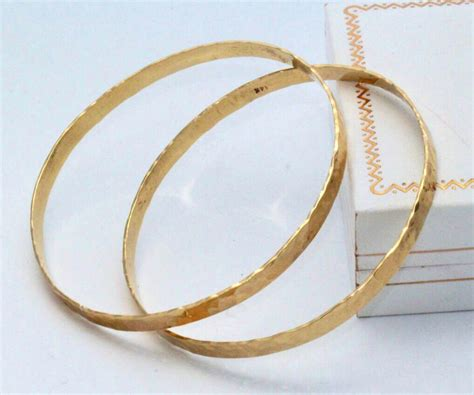 3 hammered bangle wedding gift 3 solid gold bangles by