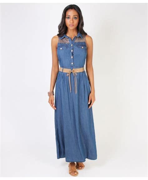 Sleeveless Denim Dress krisp sleeveless denim maxi dress