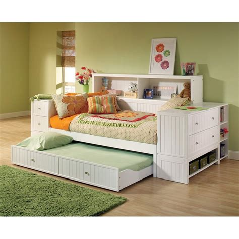 Daybed With Trundle And Storage Bookcase Storage Daybed At Hayneedle