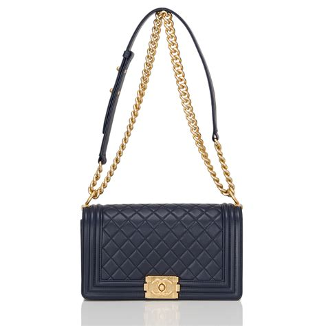 Chanel Quilted Calfskin Doctor Bag by Chanel Navy Quilted Calfskin Medium Boy Bag World S Best