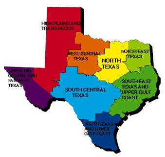 texas four regions map maps map 4 regions of texas