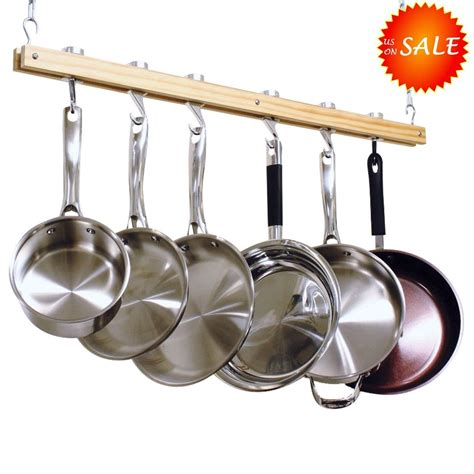 Pot Pan Hanger Ceiling Ceiling Pot Rack Wooden Kitchen Hanging Pan Storage