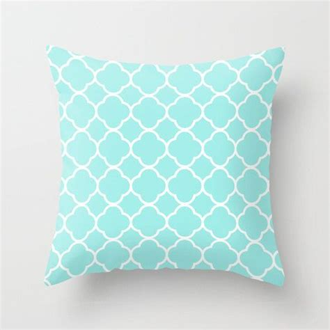 Room Decor Pillows Aqua Pillow Quatrefoil Velvet Aqua Throw Pillow