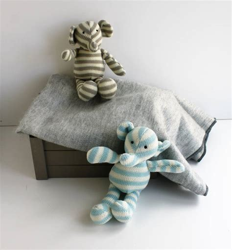 Knitted Stripe Elephant Toy Comforter By Diddywear