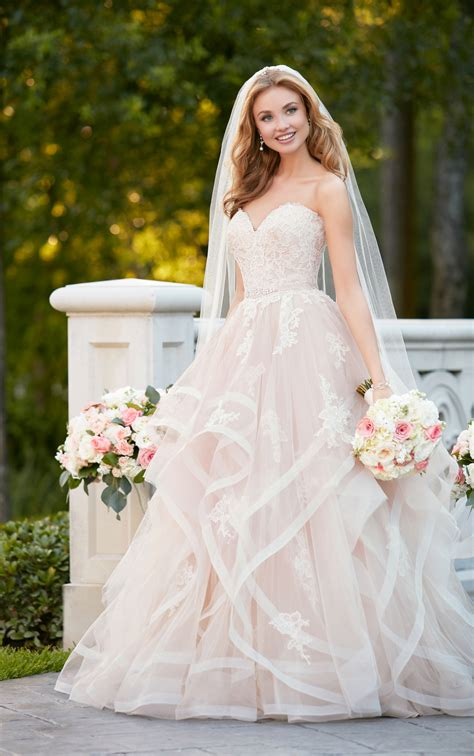 pink designer wedding dresses pink floral bridal gown with textured skirt stella york