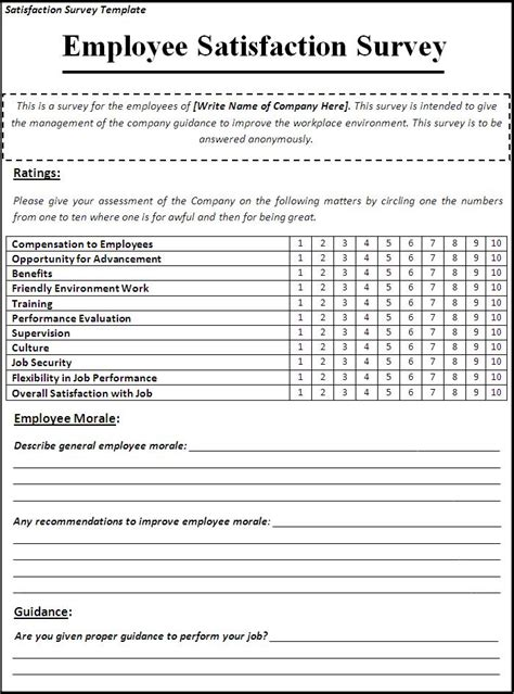 employee satisfaction survey template word business templates free printable sle ms word