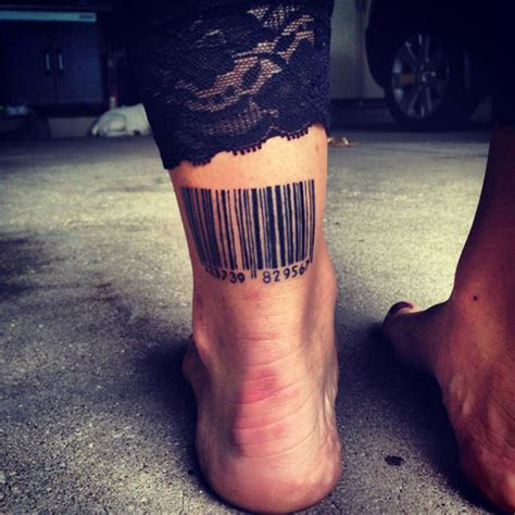 barcode tattoo on ankle unique tattoo designs barcode tattoos best tattoos 2017