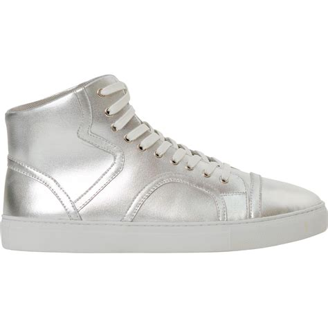 bogart silver patent leather high top sneakers paolo shoes