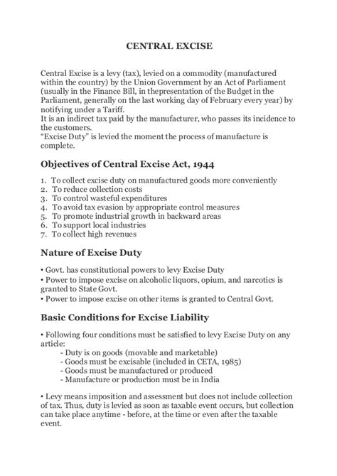 authorization letter format central excise excise notes