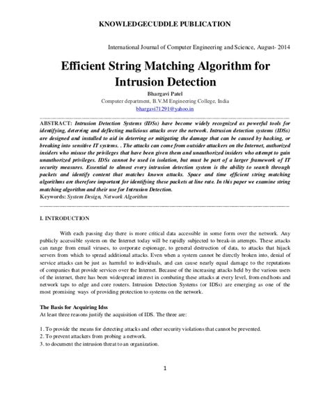 pattern matching algorithm for intrusion detection efficient string matching algorithm for intrusion detection