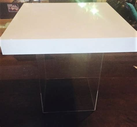 Home Table Decor white gloss table top clear perspex plinth 171 atmosphere events