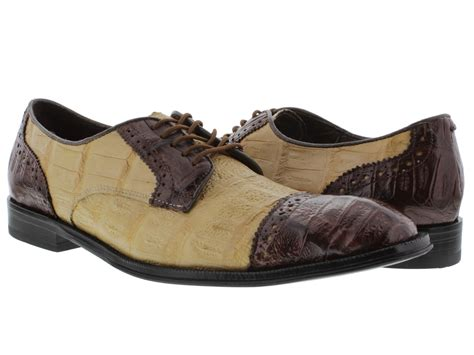 mens beige brown dolce pelle real crocodile gator skin