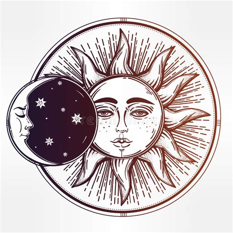 vintage hand drawn sun eclipse stock vector image