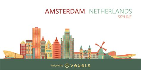 amsterdam city skyline vector