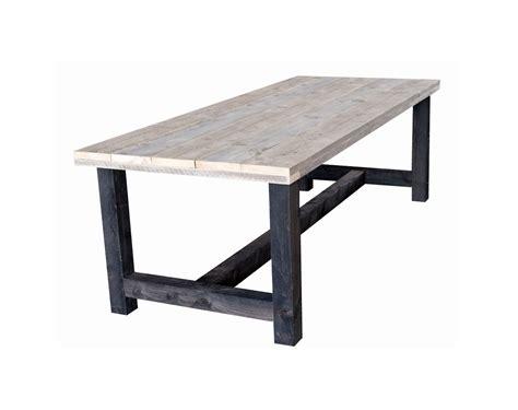 teak tafel dikke poten steigerhouten eettafel steigerplanken met antraciet poten