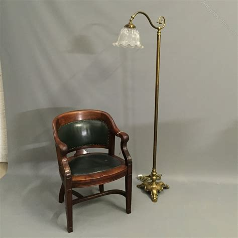 antique brass l with glass shade antiques atlas brass standard l with glass shade