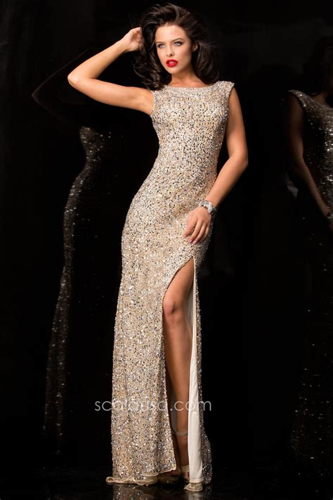 scala beaded gown scala 48410 beaded gown with side slit novelty