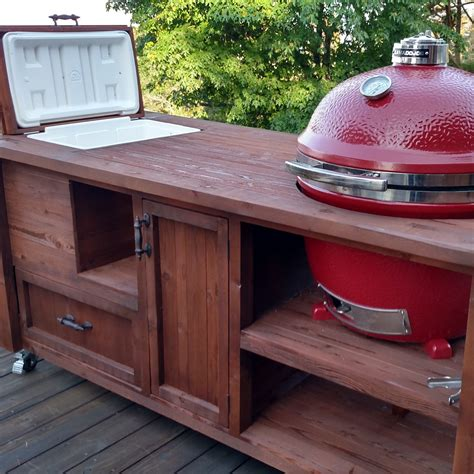 table with grill built in custom grill table or grill cart for big green egg kamado