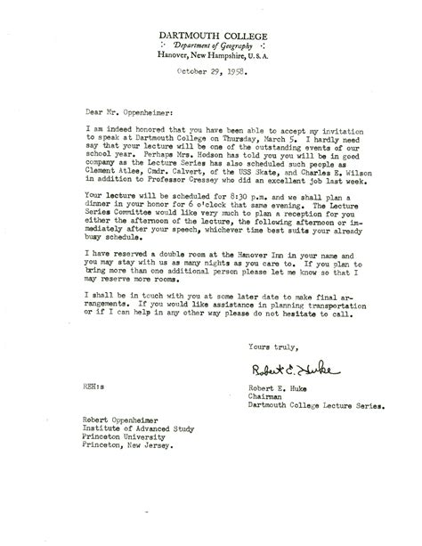 Invitation Letter Lecture Letter From Robert Huke Dartmouth College To Robert Oppenheimer Princeton 29