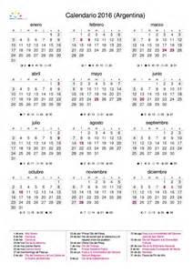 Calendario Lunar 2015 Argentina Almanaque 2016 Argentina Con Feriados Calendar Template 2016