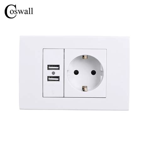 coswall wall power socket grounded 16a eu standard