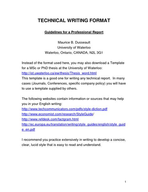 technical report template best photos of report writing template technical report