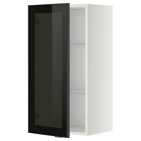 glass door kitchen wall cabinet metod wall cabinet w shelves glass door white jutis smoked
