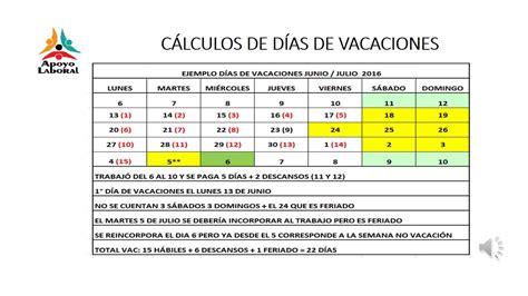calculadora de vacaciones 2016 newhairstylesformen2014com ejemplo calculo d 237 as de vacaciones youtube