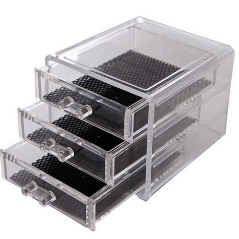 clear 3 drawers plastic storage box small