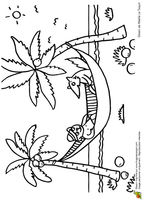 Coloriage Vacances Animaux Hamac Sur Hugolescargot Com