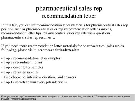 Recommendation Letter For Sales Pharmaceutical Sales Rep Recommendation Letter