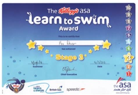 two swimming certificates max eve
