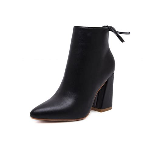black flared heel pointed toe ankle boots