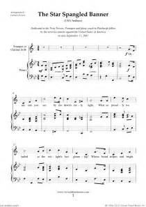 Spangled banner for trumpet or clarinet and piano free sheet music