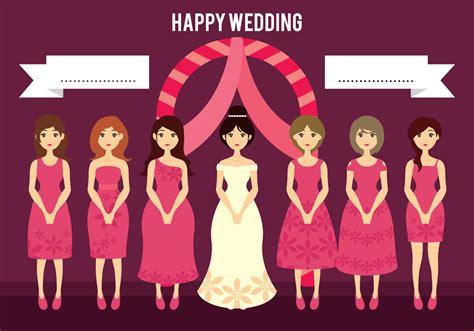 braut comic wedding bride and bridesmaids cartoon illustration