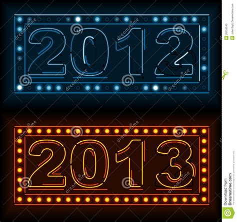 new year year signs neon new year and year signs stock photo image 26156540