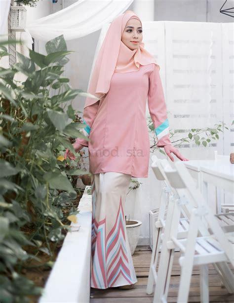 design baju warna peach baju kurung moden pastel warna pink peach renee