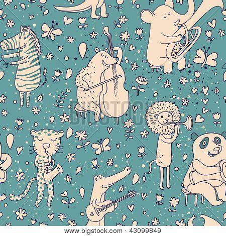consistent pattern en francais funny animals concert stylish vector photo bigstock
