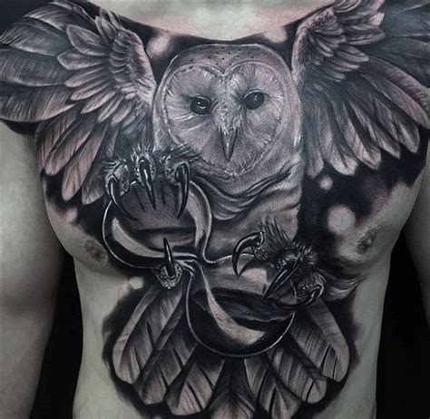 girl with owl tattoo on chest name 70 owl chest tattoo designs for men nocturnal ink ideas